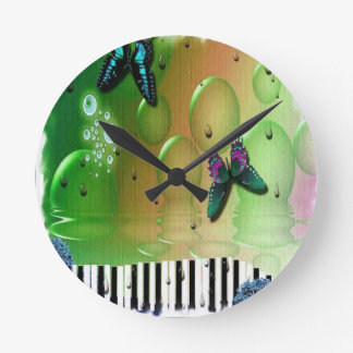 Butterflies Piano Keys Round Clock