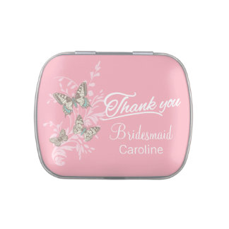 Butterflies pink customized wedding favor candy jelly belly tin