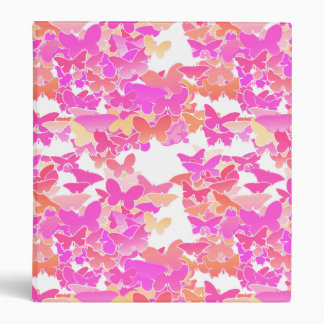 Butterflies, pink, fuchsia and coral binder