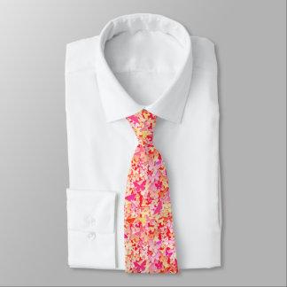 Butterflies, pink, peach, coral tie