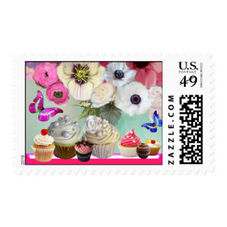 BUTTERFLIES PINK ROSES,ANEMONES BIRTHDAY CUPCAKES STAMPS