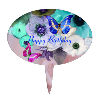 BUTTERFLIES,PINK TEAL  ROSES AND ANEMONE FLOWERS CAKE TOPPER