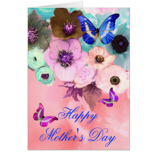 BUTTERFLIES,PINK TEAL  ROSES AND ANEMONE FLOWERS CARD