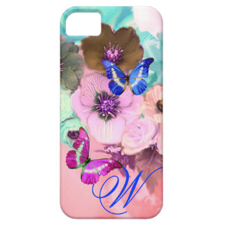 BUTTERFLIES,PINK TEAL ROSES AND ANEMONE FLOWERS iPhone SE/5/5s CASE