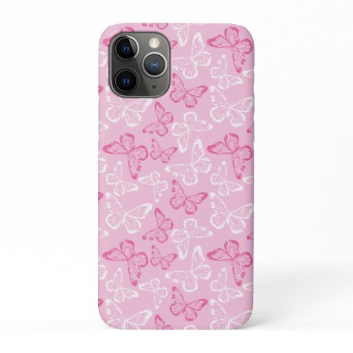 Butterflies Pink White iPhone 11 Pro Case
