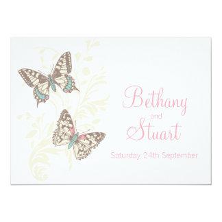 Butterflies pink white cream wedding invitation