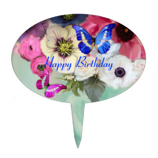 BUTTERFLIES,PINK WHITE  ROSES AND ANEMONE FLOWERS CAKE TOPPER