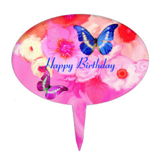 BUTTERFLIES PINK WHITE  ROSES ,ANEMONE FLOWERS CAKE TOPPER