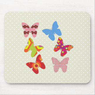 Butterflies, Polka Dots, Flowers - Pink Blue Green Mouse Pad