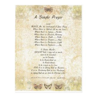 butterflies=pope francis=st. francis SIMPLE PRAYER Postcard