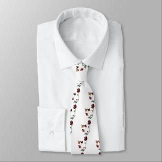 Butterflies Poppy Art Neck Tie