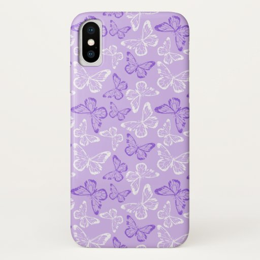 Butterflies Purple White iPhone XS Case