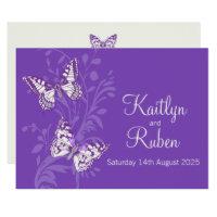 Butterflies purple white cream wedding invitation