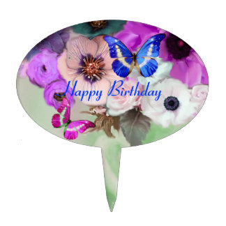 BUTTERFLIES PURPLE WHITE  ROSES ,ANEMONE FLOWERS CAKE TOPPER
