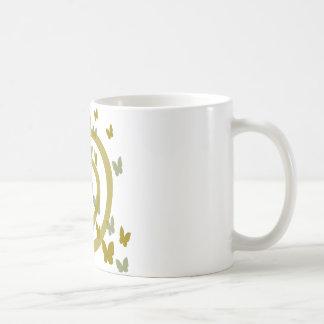 Butterflies Random And Big Swirl, Gold And Silver Coffee Mug