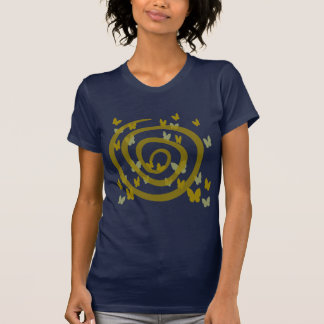 Butterflies Random And Big Swirl, Gold And Silver T-Shirt