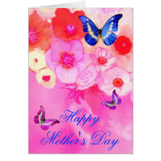 BUTTERFLIES,RED PINK ROSES AND ANEMONE FLOWERS CARD