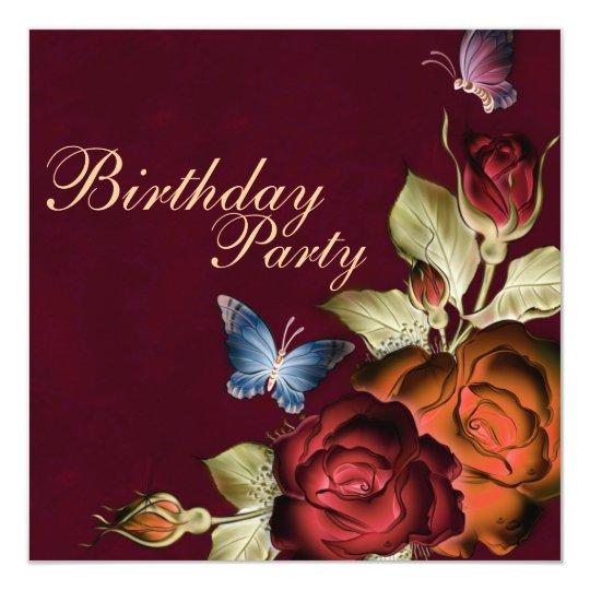 Butterflies & Roses Birthday Invitation