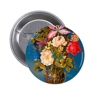 Butterflies roses vase table flower arrangement pinback button