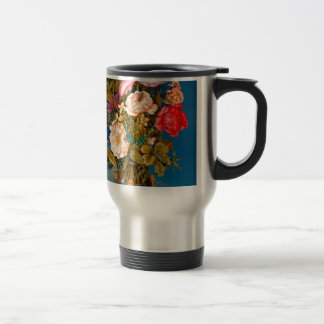 Butterflies roses vase table flower arrangement travel mug