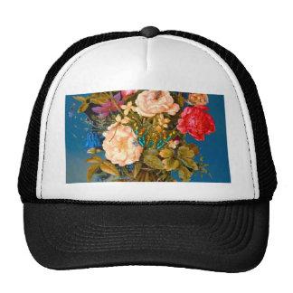 Butterflies roses vase table flower arrangement trucker hat