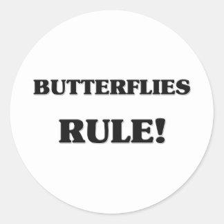 Butterflies Rule Round Sticker