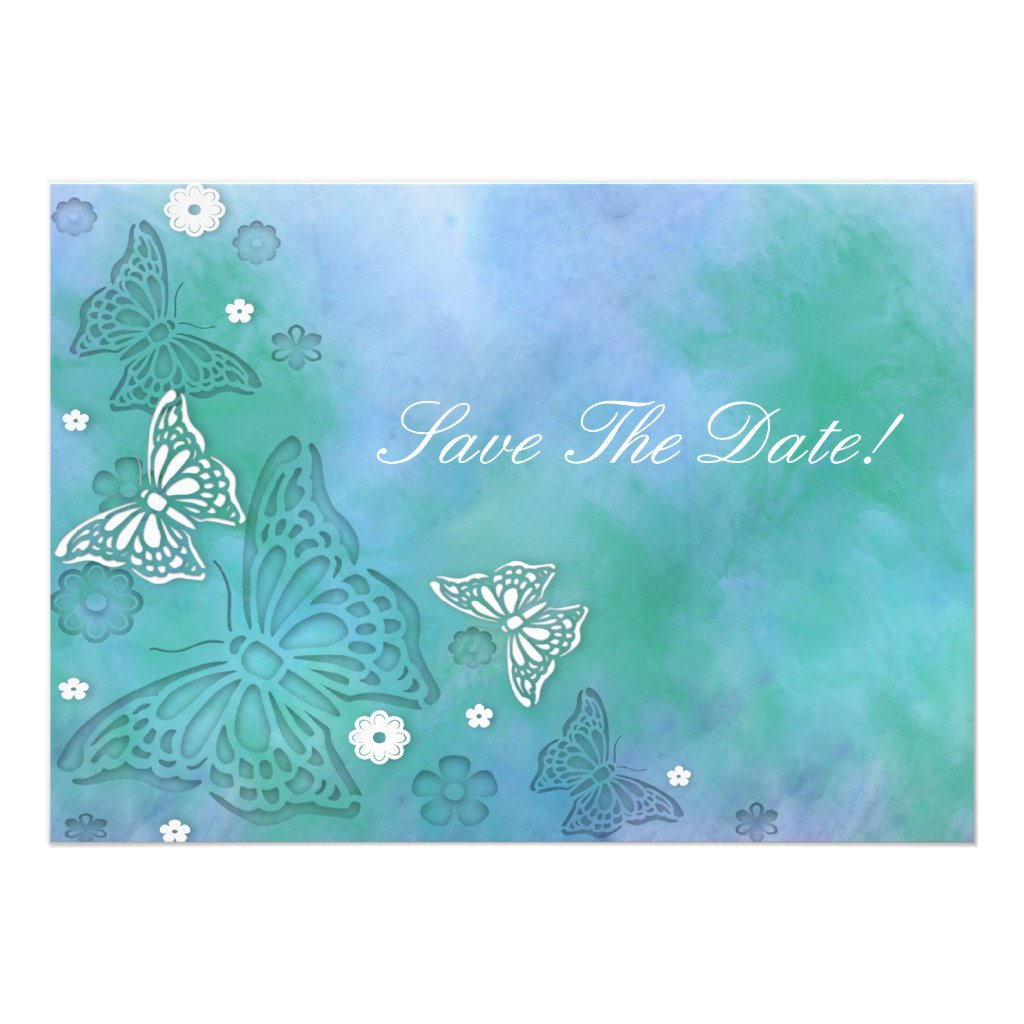 Butterflies Save The Date Invitation