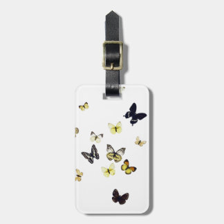 Butterflies shot on white bag tag