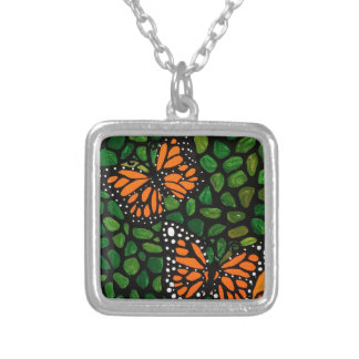 butterflies silver plated necklace