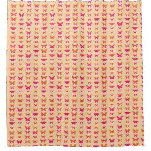 Butterflies Soft Orange Coral Pink Gold Shower Curtain