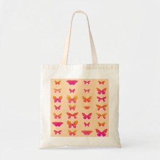 Butterflies, soft orange, coral pink, gold tote bag