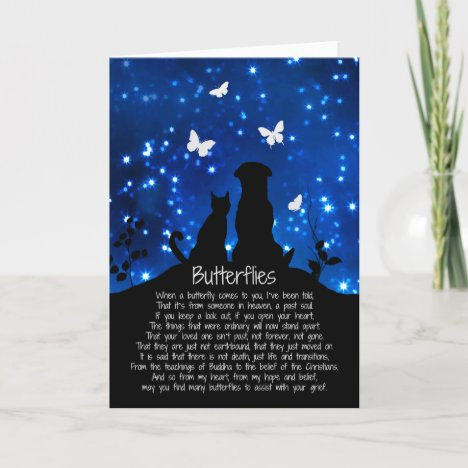 Butterflies Sympathy Card With Dog and Cat
