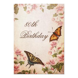 Butterflies & Vintage Almond Blossom 80th Birthday Card