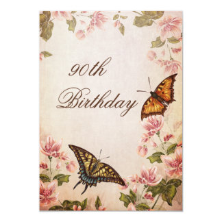 "Butterflies & Vintage Almond Blossom 90th Birthday 5"" X 7"" Invitation Card"