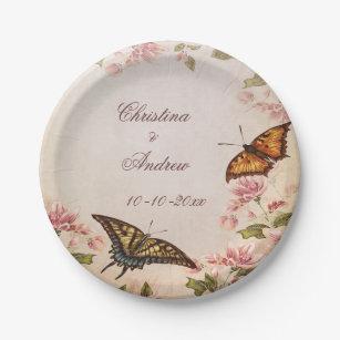 Butterflies \u0026 Vintage Almond Blossom Engagement Paper Plate  sc 1 st  Zazzle & Butterfly Engagement Plates | Zazzle
