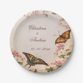 Butterflies & Vintage Almond Blossom Engagement 7 Inch Paper Plate