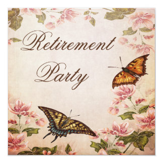 Butterflies & Vintage Almond Blossom Retirement Card