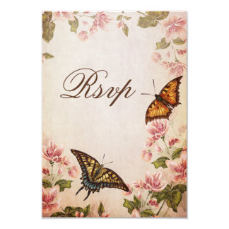 "Butterflies & Vintage Almond Blossom RSVP 3.5"" X 5"" Invitation Card"