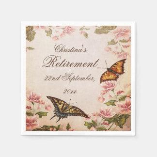 Butterflies & Vintage Almond Blossom Serviettes Paper Napkin