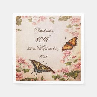 Butterflies & Vintage Almond Blossom Serviettes Standard Cocktail Napkin