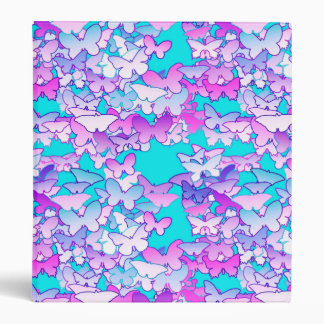 Butterflies, violet and turquoise 3 ring binder