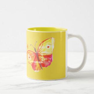 Butterflies Watercolor  Orange Two-Tone Coffee Mug