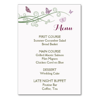 Butterflies Wedding Menu Table Card