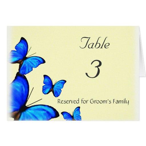 Butterflies Wedding Table Number Card