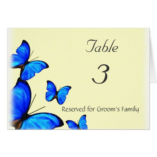 Butterflies Wedding Table Number Card
