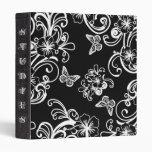 Butterflies White Black School Notebook Binder