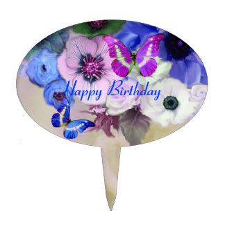 BUTTERFLIES WHITE BLUE  ROSES ,ANEMONE FLOWERS CAKE TOPPER