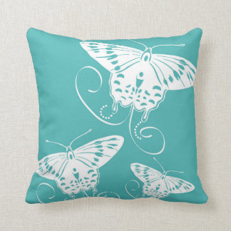 Butterflies   White on Teal Background Throw Pillow