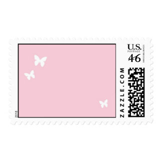 Butterflies (White/pink) Postage Stamp
