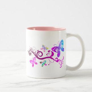 butterflies wings spring pink purple wing pattern Two-Tone coffee mug